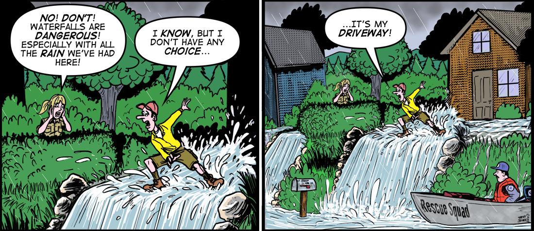 """""""Water Falls"""" cartoon ©2018 – Brent Brown"""